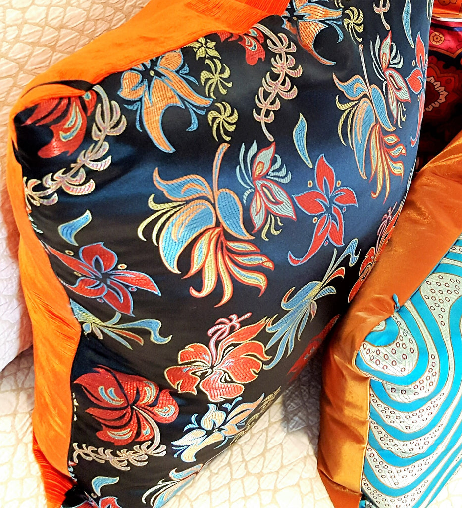 Modern Black Floral Silk Brocade Pillow (Pair)