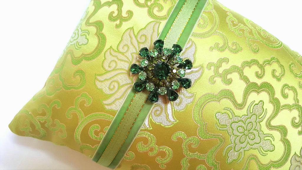 Spring Green Silk Brocade Pillow with Vintage Brooch