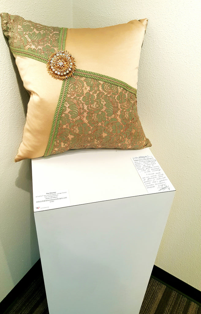 """The Eleanor"" Textile Pillow Art with Vintage Brooch"
