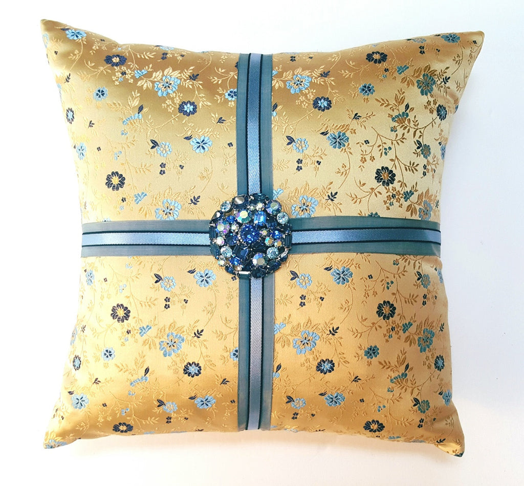 Yellow Floral Silk Brocade Pillow with Vintage Brooch