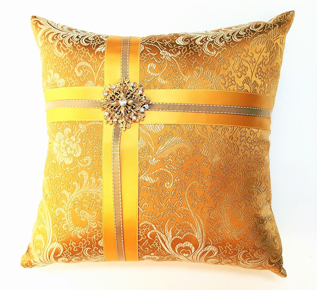 Gold Silk Brocade Pillow with Vintage Brooch