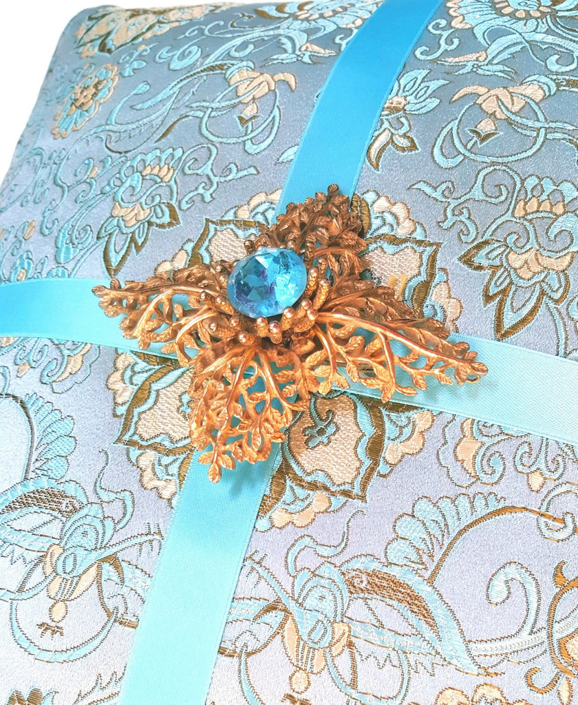 Pastel Blue Silk Brocade Pillow with Vintage Brooch