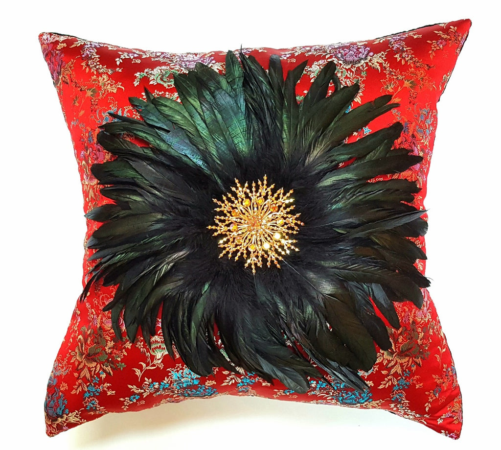 """The Sophia"" Textile Pillow Art with Vintage Brooch"