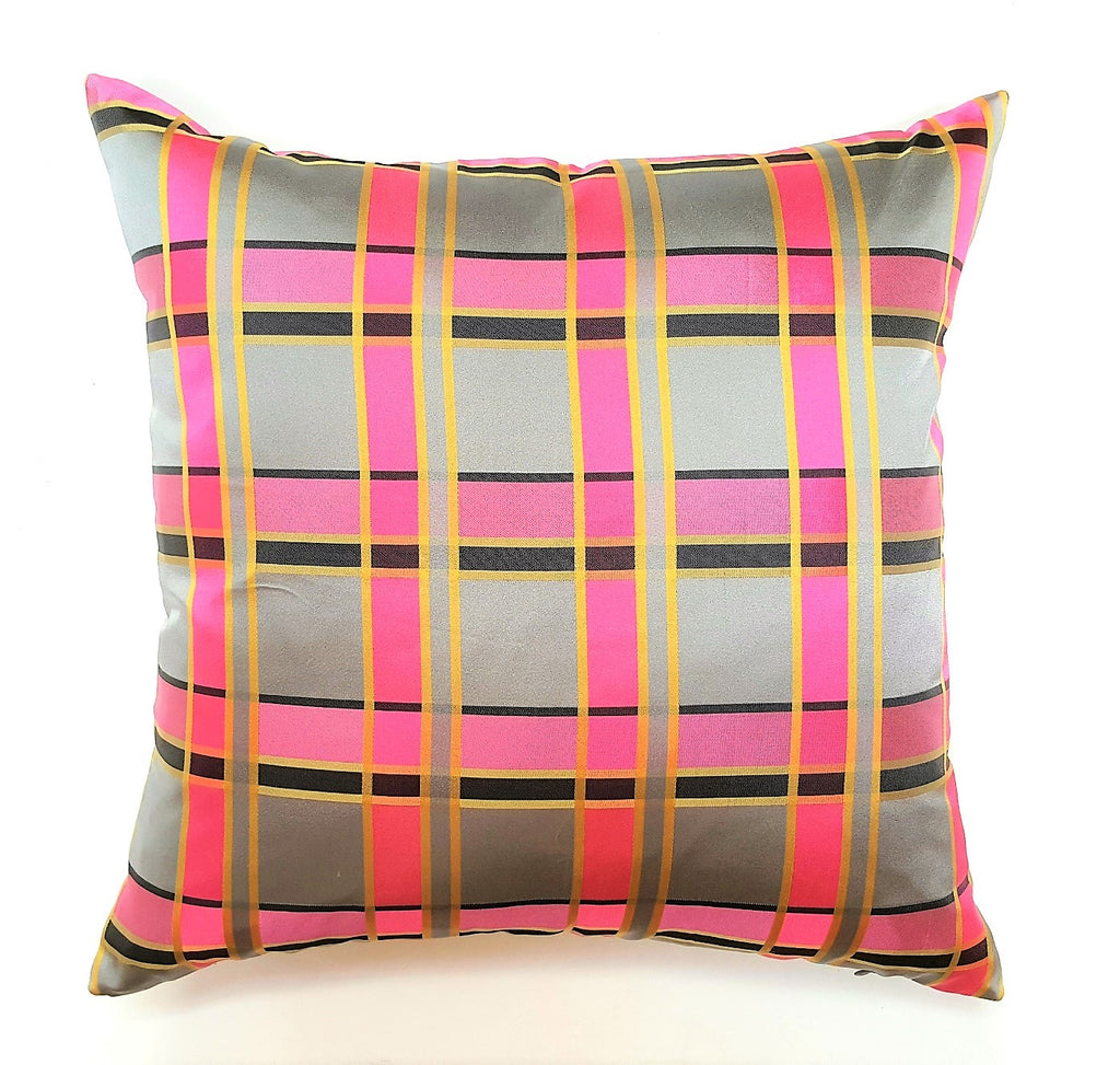 Vintage Pink & Pewter Tartan Pillow