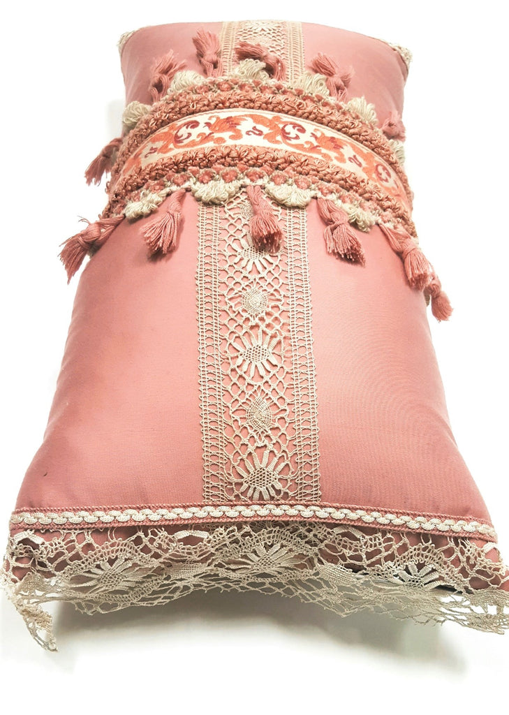 Soft Pink Vintage French Trim & Lace Pillow
