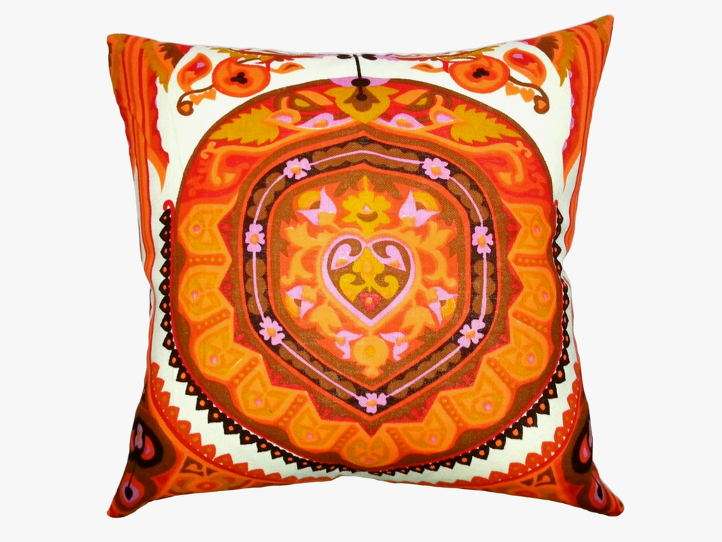 Vintage Orange & Red Folk Art Pillow (24 x 24)