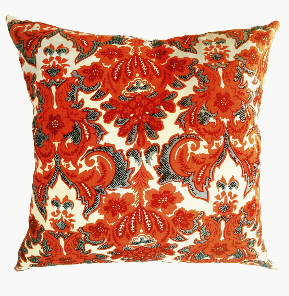 Vintage Red & Cream Scroll Motif Pillow