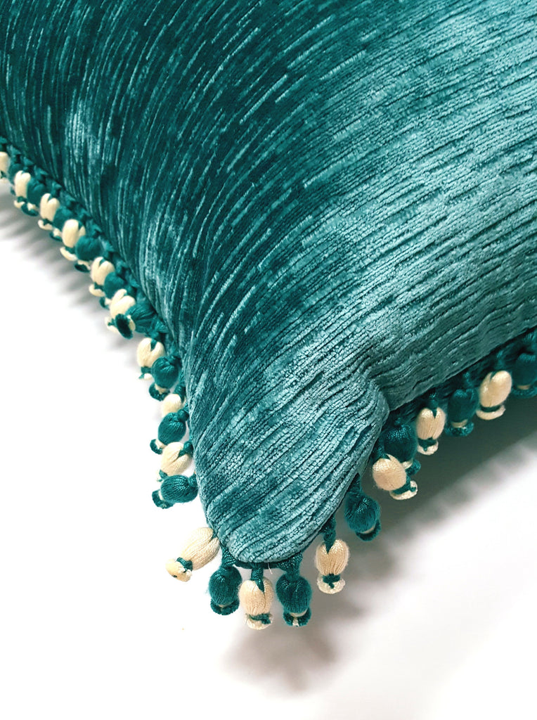 Teal Ribbed Kravet Velvet Pillow with Pompoms