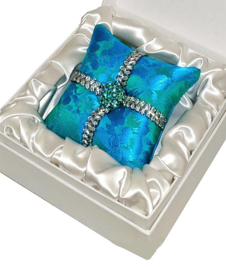 Aqua Blue Silk Brocade & Vintage Rhinestone Button Ornament