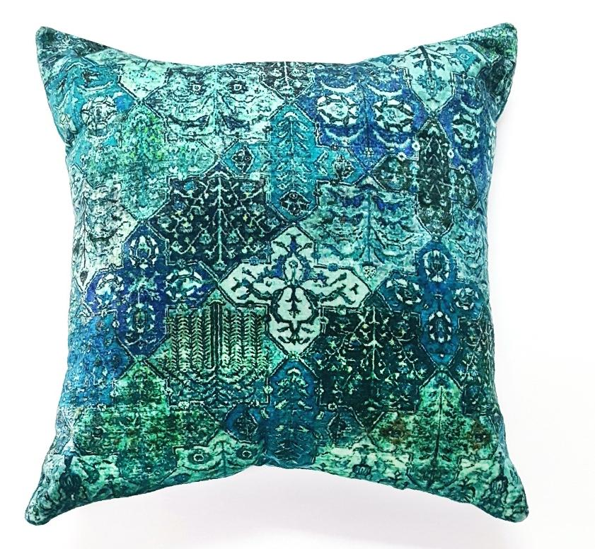 Printed Aqua GP & J Baker Velvet Pillow