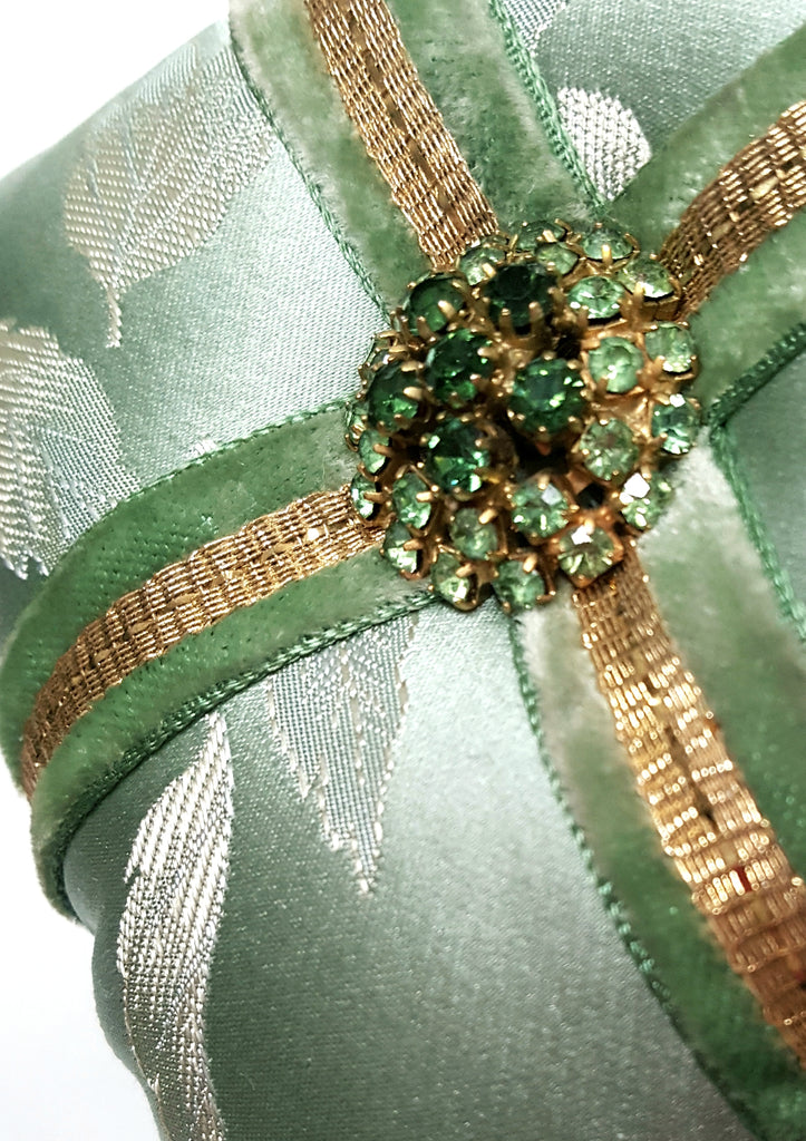 Vintage Mint Green silk with Rhinestone Button Holiday Ornament