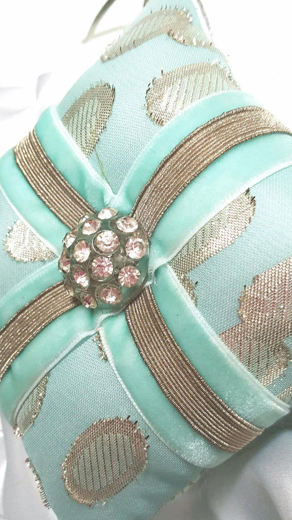 Caribbean Blue Vintage Rhinestone Button Holiday Ornament