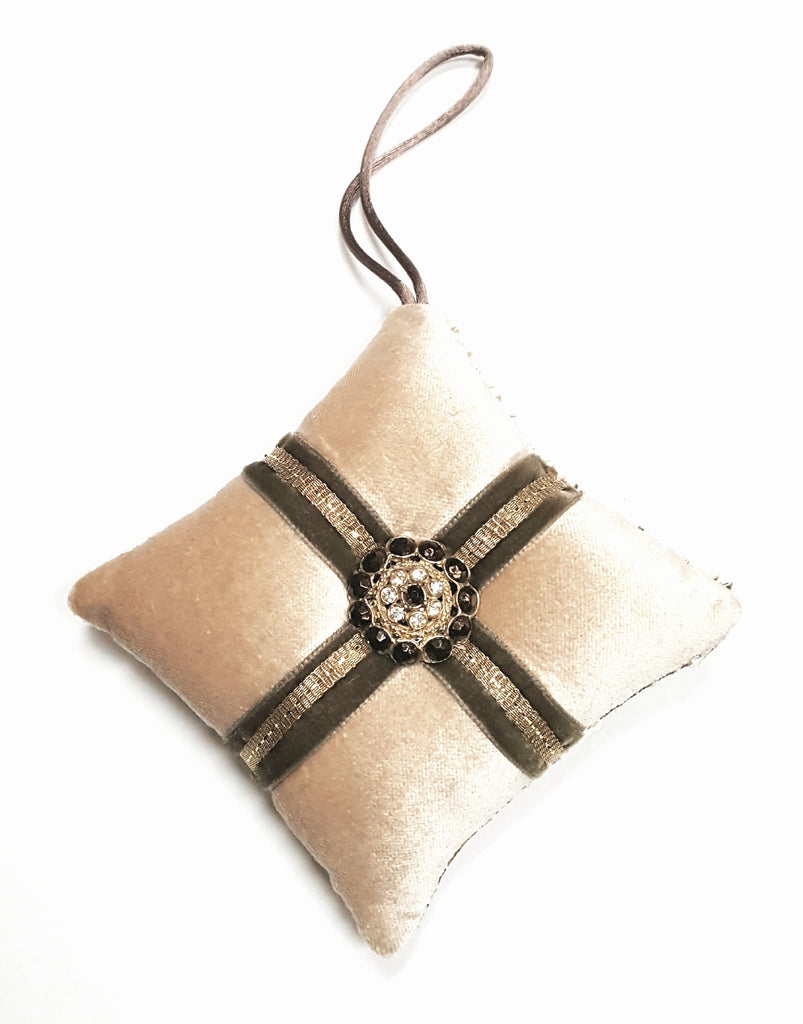 Cream Velvet Vintage Button Holiday Pilllow Ornament
