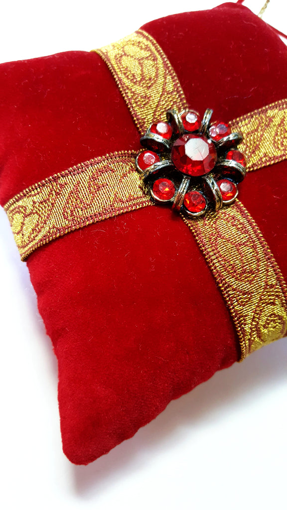 Red Velvet Vintage Rhinestone Button Holiday Pillow Ornament
