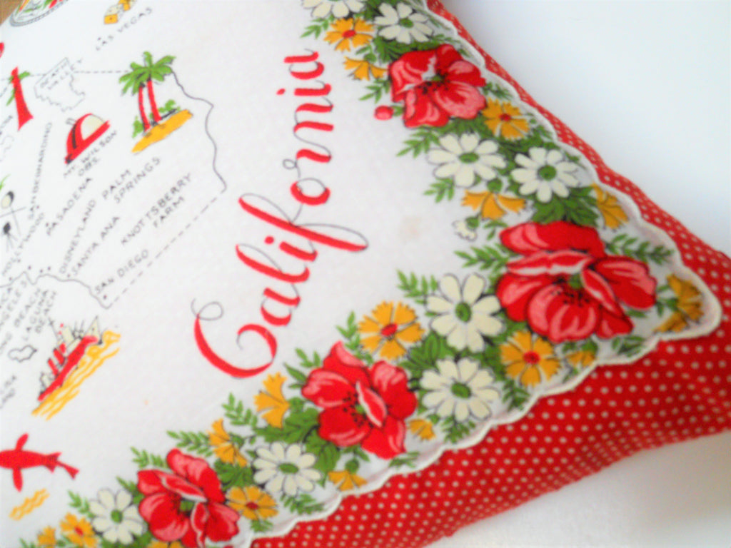 Vintage California State Hankie Pillow