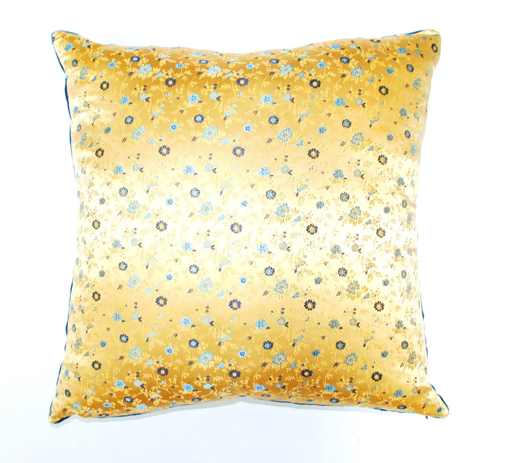 Golden Yellow Floral Silk Brocade Pillow