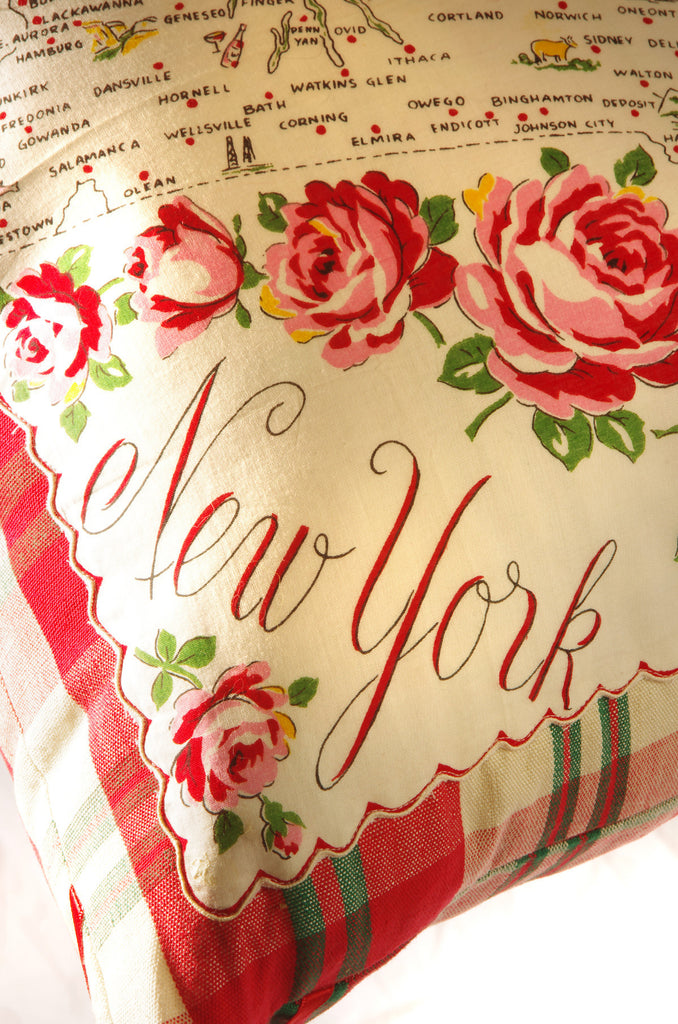 Vintage New York State Hankie Pillow