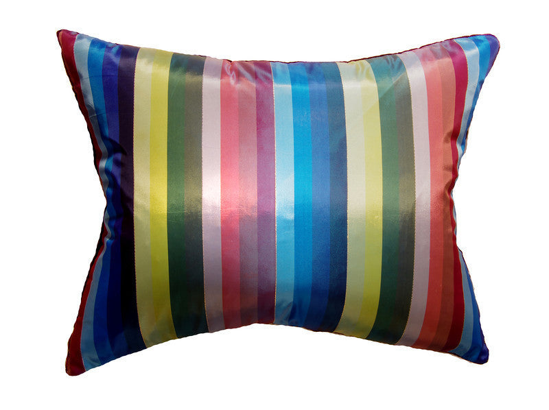 Vintage Striped Blue & Burgundy Pillow