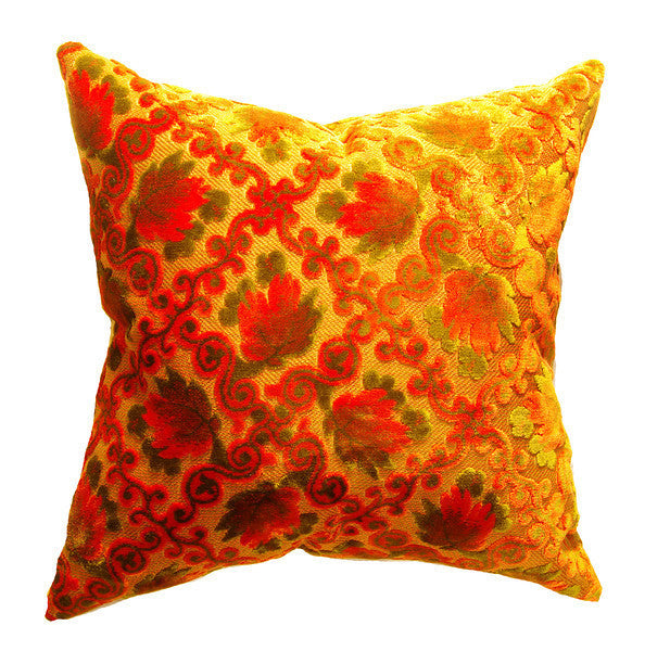 Pair of Vintage Orange Cut Velvet Pillow (20 x 20/Pair)
