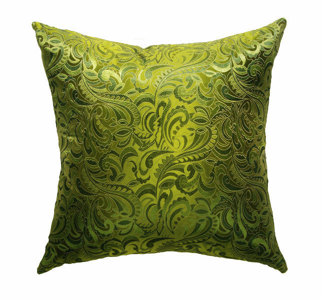 Multi-tone Green Paisley Swirl Silk Brocade Pillow