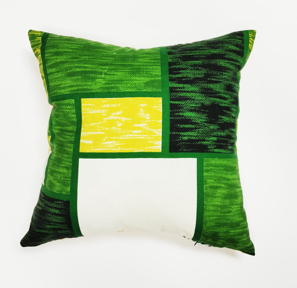 Vintage Yellow Green Block Print Pillow
