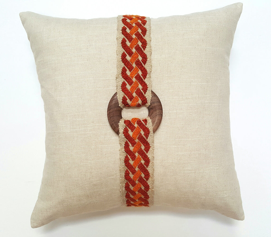 Vintage Orange & Rust Woven French Trim Pillow
