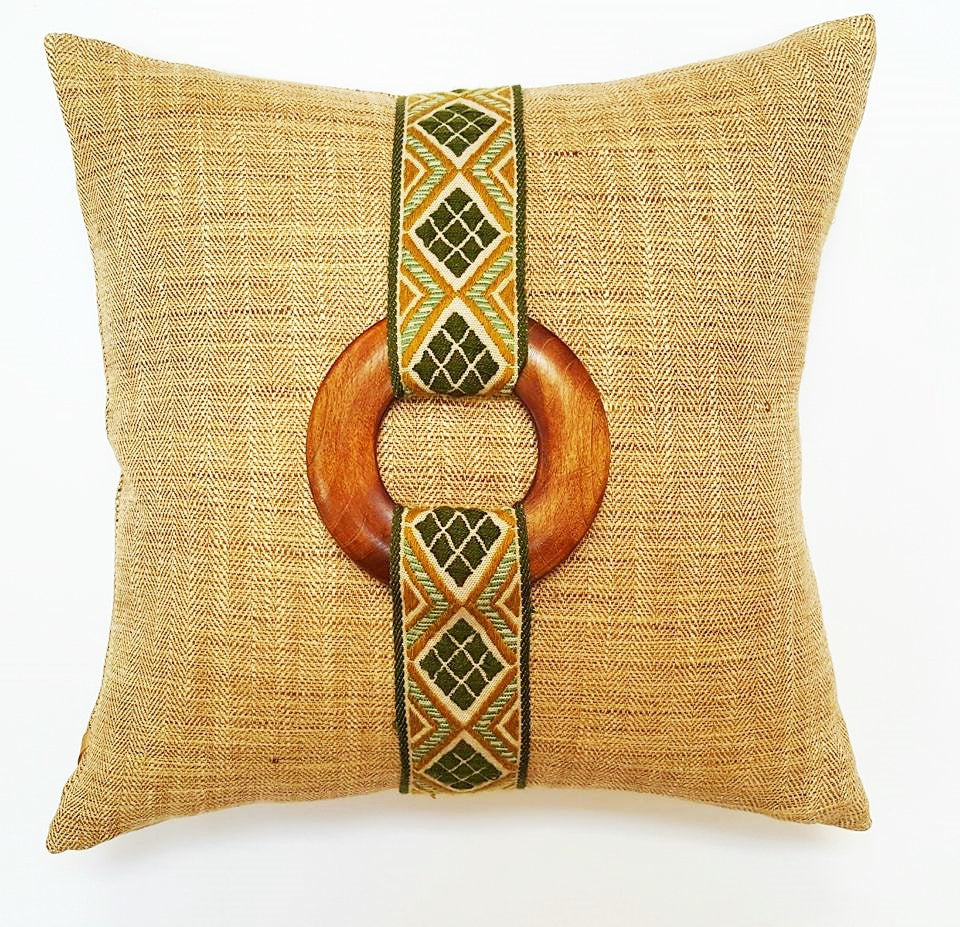 Vintage Green & Gold Diamond French Trim Pillow