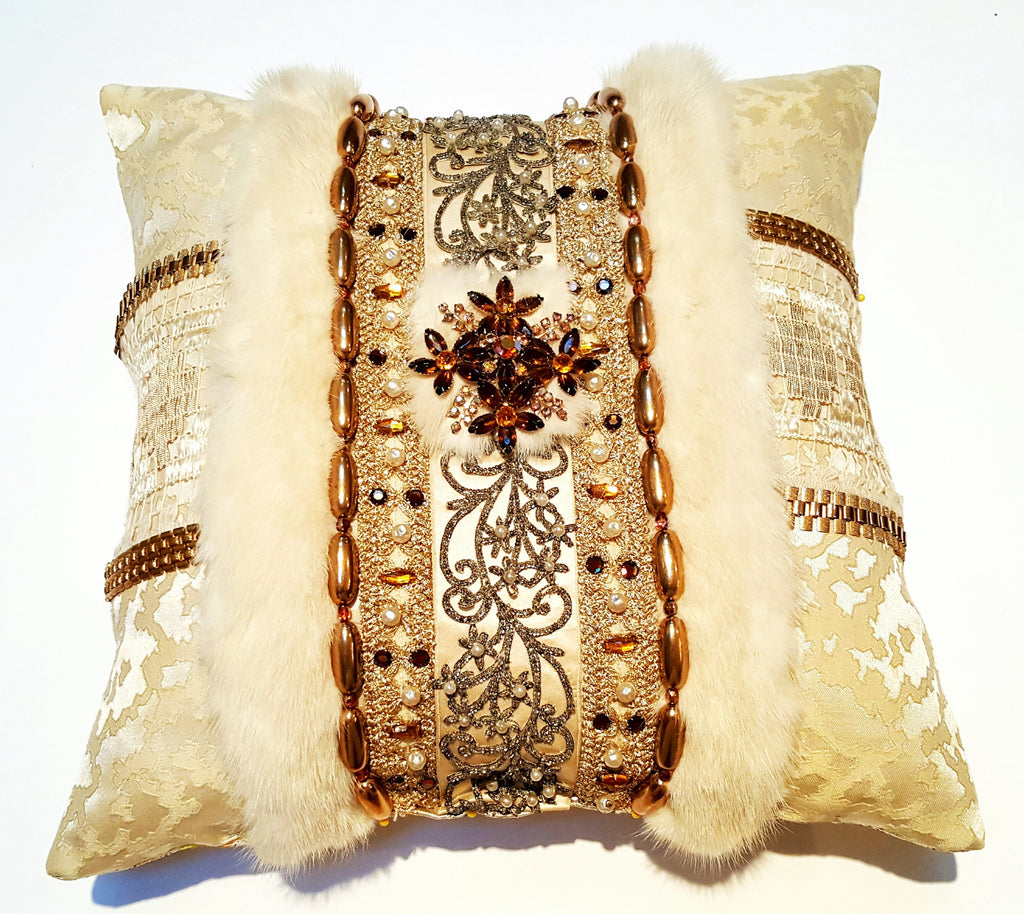 """The Anastasia"" Textile Pillow Art with Vintage Brooch"