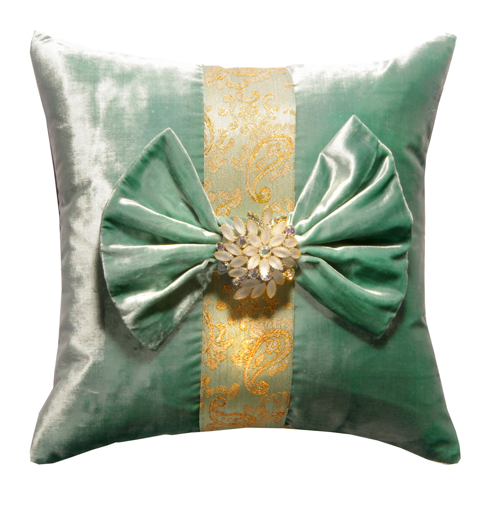 """The Bella"" Textile Art Pillow with Vintage Julianna Brooch"