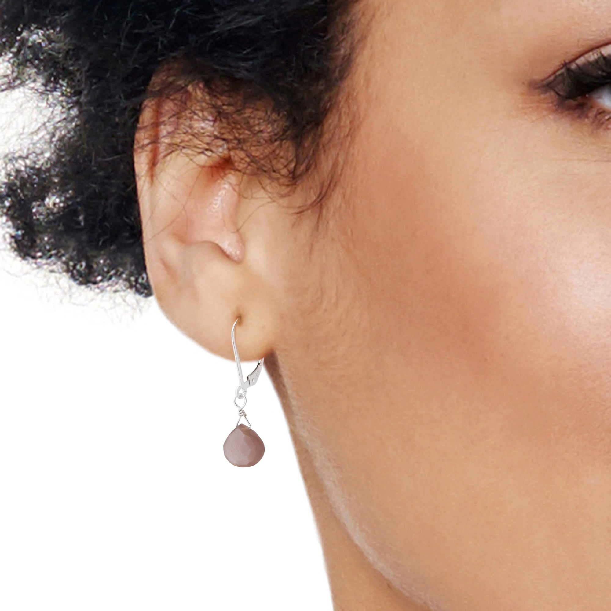 Chocolate Moonstone Leverback Earrings