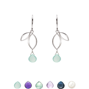 Ella Mini Sprout Earrings with Gemstones