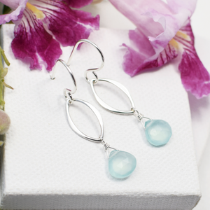silver leaf earrings with gemstone