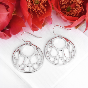 Opuntia Medium Framed Open Circle Cactus Earrings