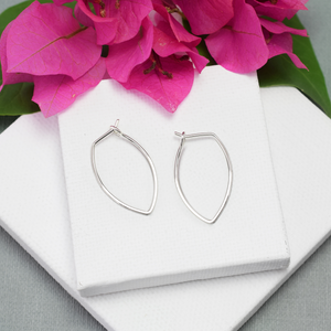 Protection Small Silver Petal Hoop Earrings