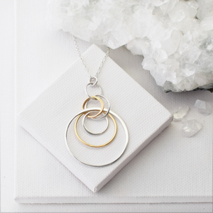 Cynthia Gold & Silver Concentric Circle Dangle Necklace