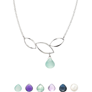 Ella Three Leaf Curve Necklace with Gemstone
