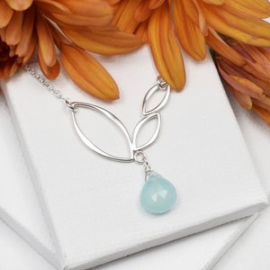 Ella Mini V Leaf Necklace with Gemstone