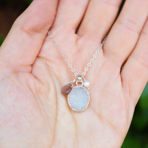 Quartz Druzy Necklace with Chocolate Moonstone and Pearl
