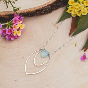 Amulet Two Petal and Fence Gemstone Necklace