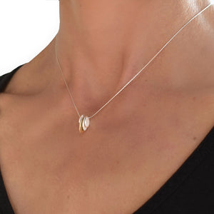 Arbor Sideways Solid Five Leaf Necklace with one gold leaf