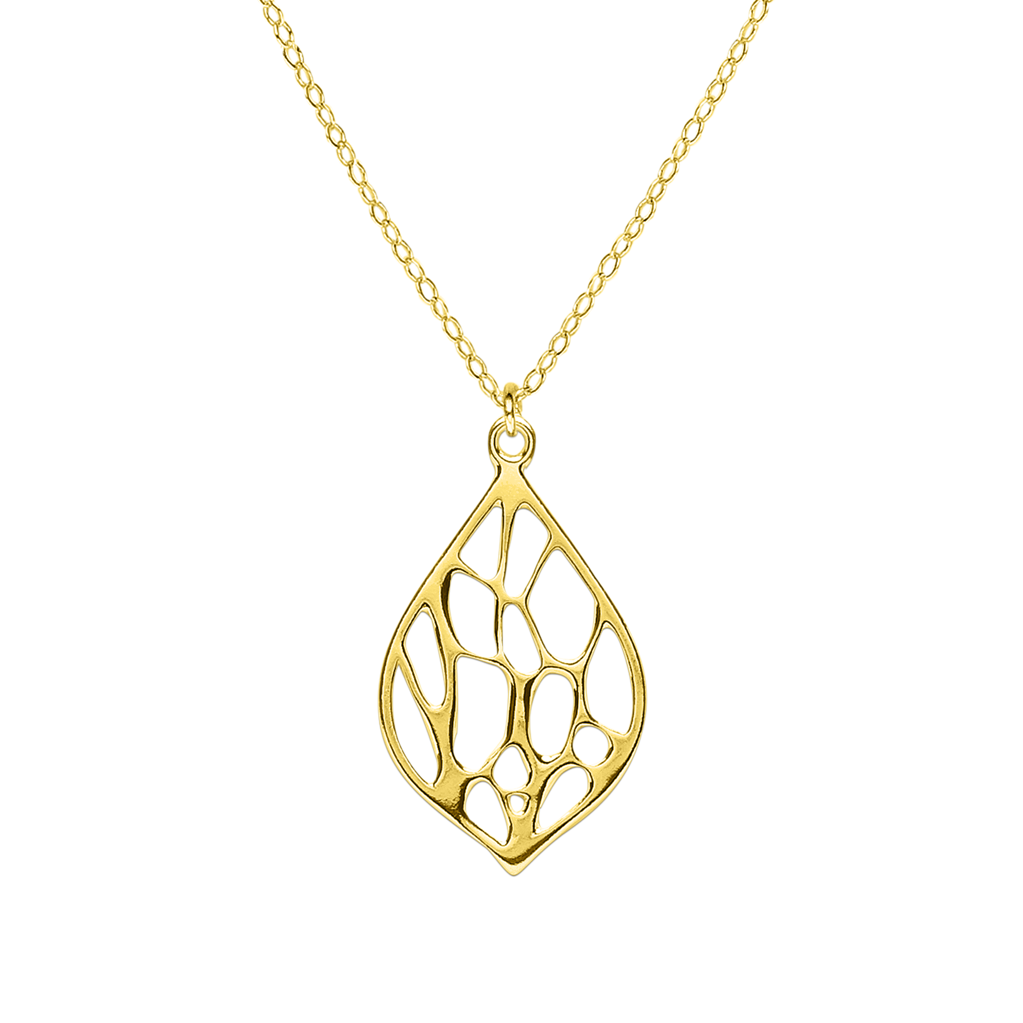 Opuntia Gold Medium Framed Lily Cactus Necklace