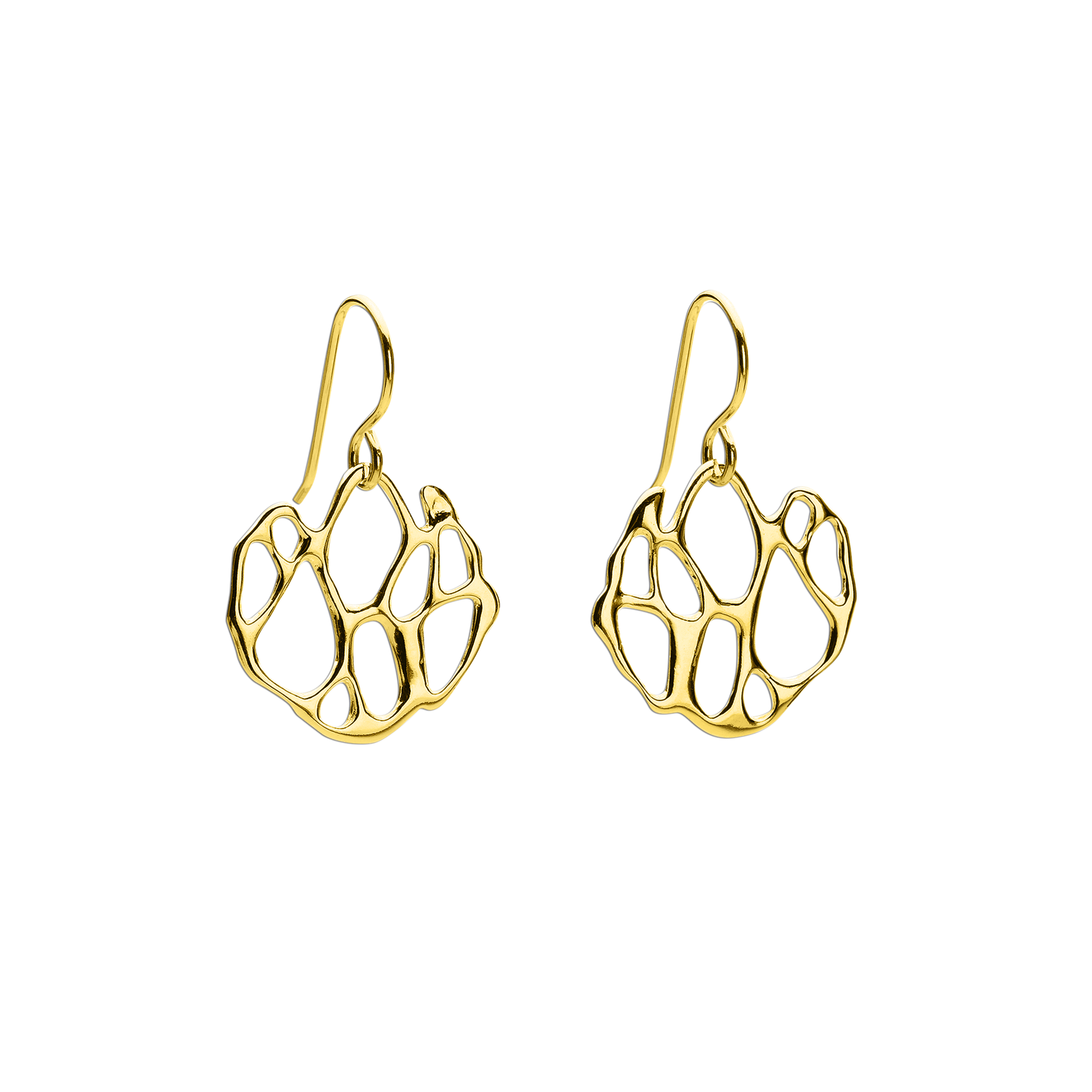 Opuntia Gold Small Circle Cactus Earrings