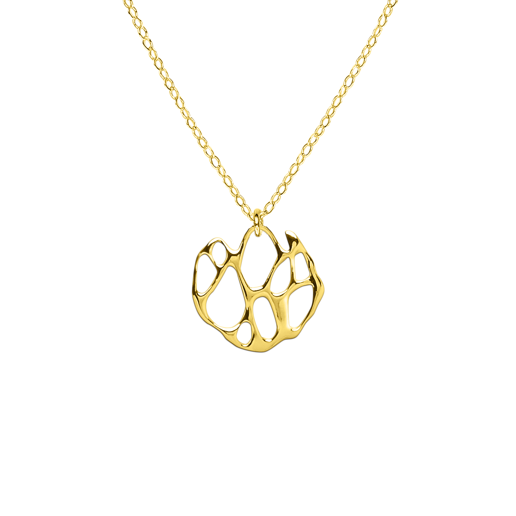 Opuntia Gold Small Flat Circle Cactus Necklace