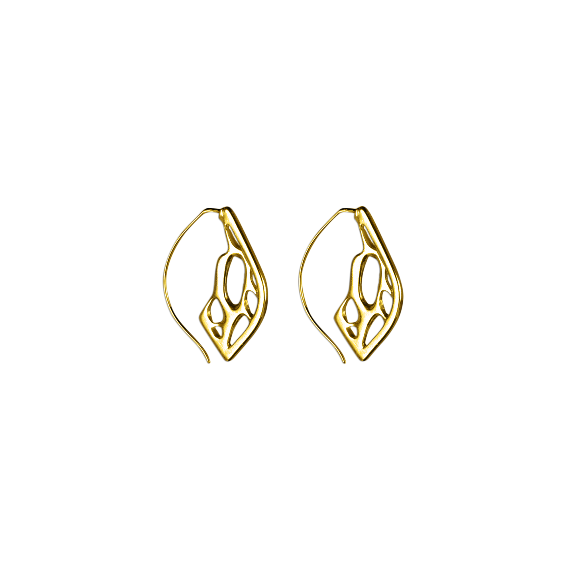 Opuntia Gold Small Framed Lily Hoop Cactus Earrings
