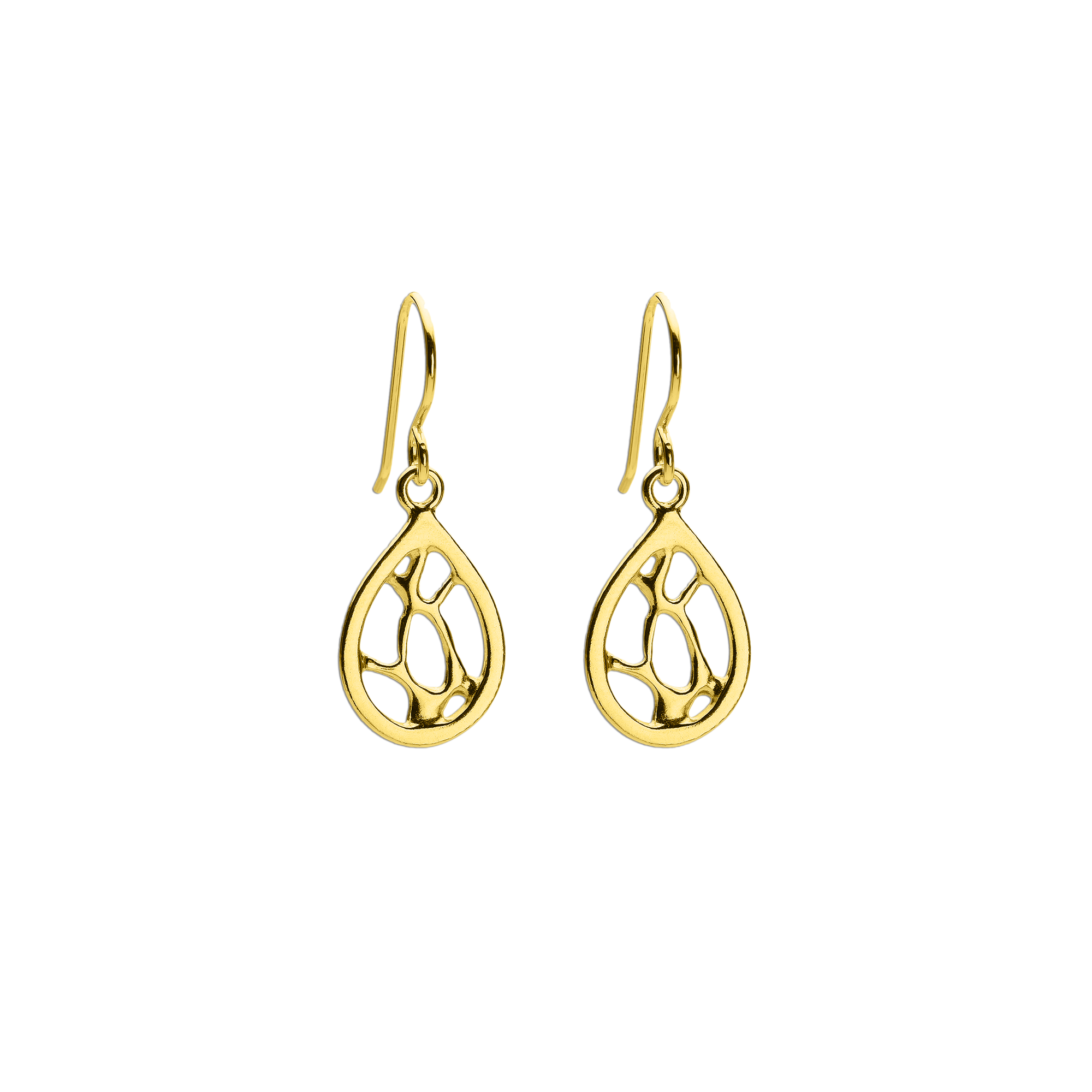 Opuntia Gold Small Framed Teardrop Cactus Earrings