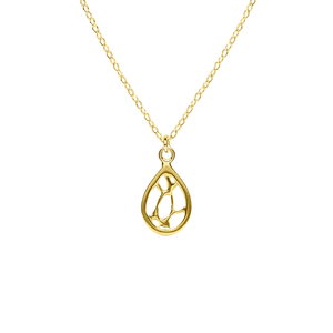 Opuntia Gold Small Framed Teardrop Cactus Necklace