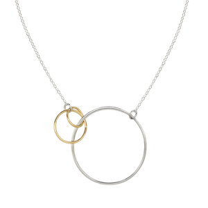 two tone interlinked circle necklace