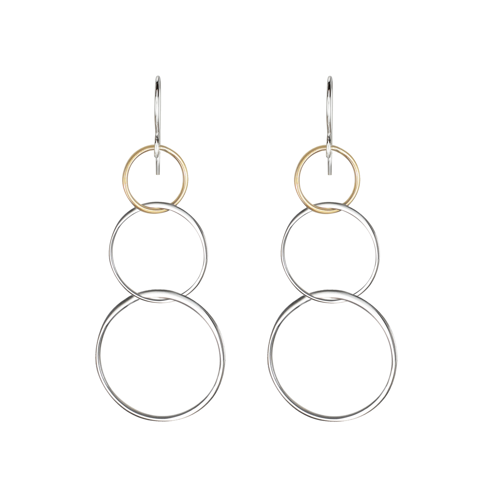 two tone linked circle dangle earrings