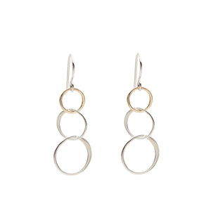 Cynthia Small Silver & Gold Three Circle Linked Earrings
