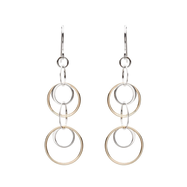 Cynthia Waterfall Gold & Silver Circle Dangle Earrings